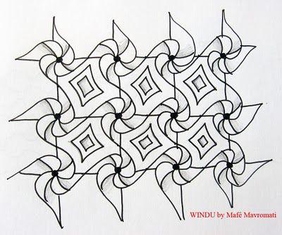 Windu tutorialTangled Brasil, Zen Tangled, Delicate Tangled, Amazing Tangled, Windu, Março 2011, Tangled Pattern, Zentangle Pattern, Mafe Mavromati