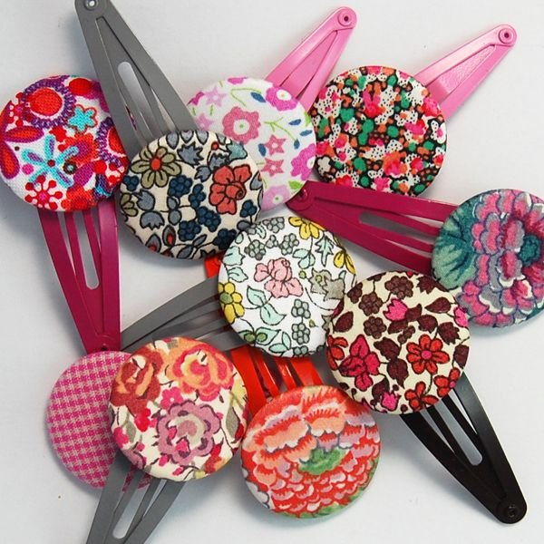 barrette boutons recouverts