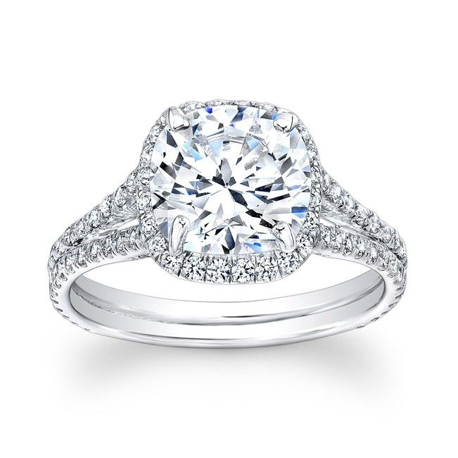 Collette Halo Engagement Ring - Cushion Cut Halo Split Shank Ring. This ring has one hundred and six round brilliant cut diamonds in 14k.
