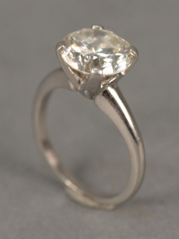 Platinum diamond ring set with center diamond 2.58 cts. ~ Realized Price $12,000.00  #nadeausauction
