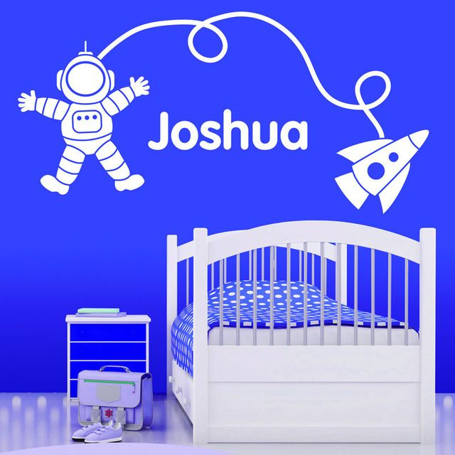 Personalised Spaceman/Rocket Wall Sticker Baby wall Art Decal Vinyl Transfer Stars Wall Stickers For Kids Room Nursery Mural