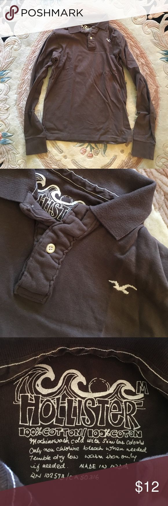 Men's Hollister long sleeve polo brown medium In excellent condition Hollister Shirts Polos