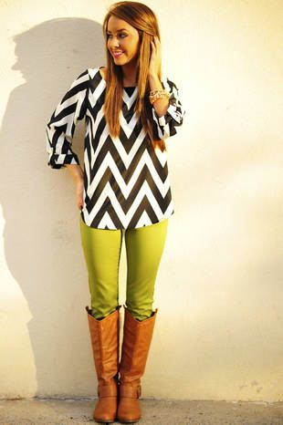 chevron and colorful jeans
