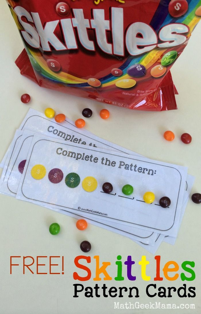 Free Skittles Pattern Cards - Create color patterns with skittles pattern cards for preschool and kindergarten.