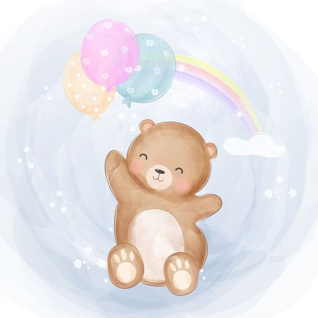 Cute Baby Bear Flying With Balloons Cute Clipart Baby Shower Cartoon Png And Vector With Transparent Background For Free Download Cute Animal Illustration Baby Bear Animal Clipart