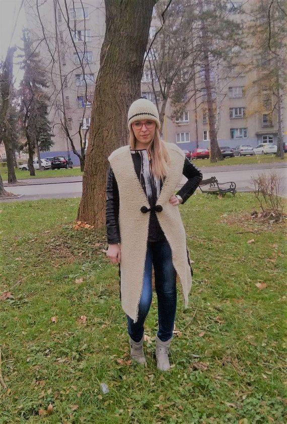 Beige Knitted Long Vest 100% Wool by LLCozyCorner on Etsy