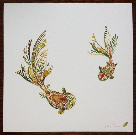 Fantail Goldfish Pair made from pressed Fern 8 by HelenAhpornsiri