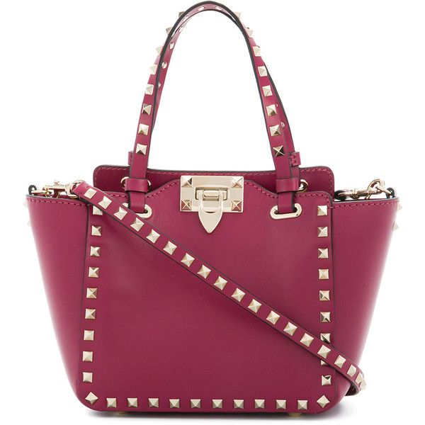 Valentino Garavani Rockstud trapeze tote (5.294.730 COP) ❤ liked on Polyvore featuring bags, handbags, tote bags, pink, purple tote bags, purple handbags, top handle purse, valentino tote and locking purse