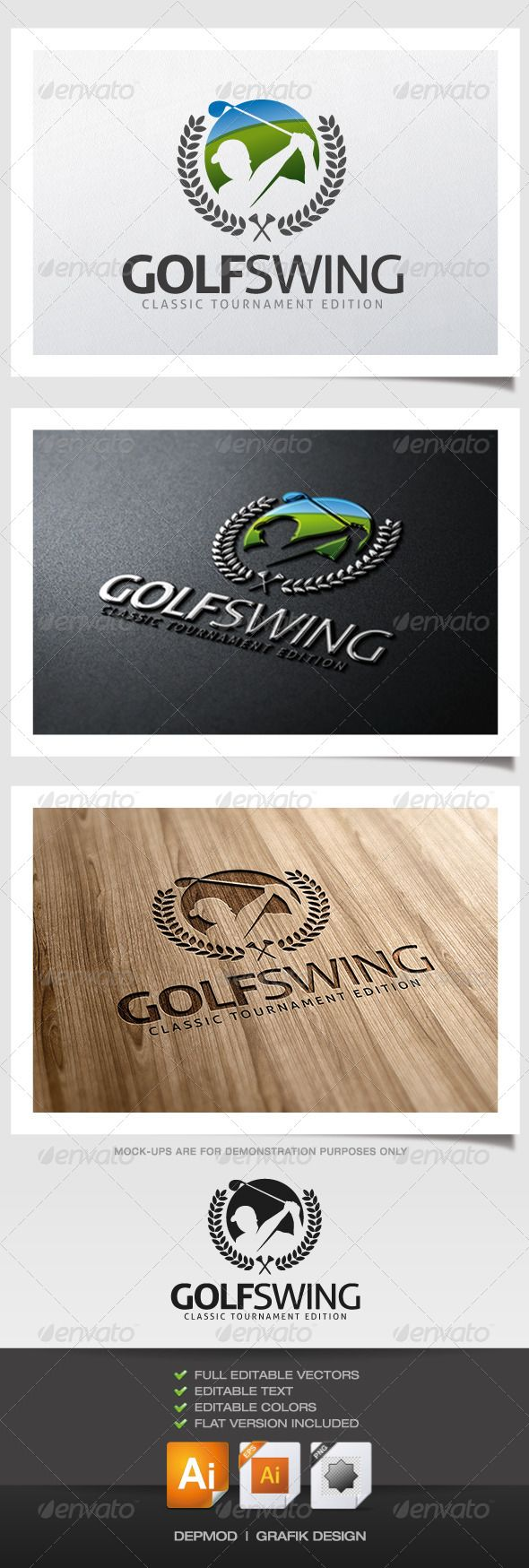 Golf Swing Logo — Transparent PNG #tournament #swing • Available here → https://graphicriver.net/item/golf-swing-logo/6067946?ref=pxcr