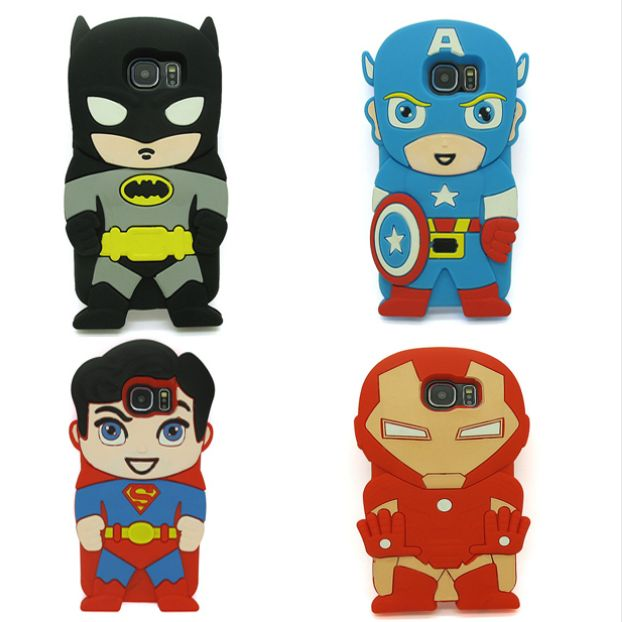 3D Cute Cartoon Super Hero Batman Soft Rubber Silicone Case For Samsung Galaxy S6 G920 G9200 S6 Edge Plus S7/S7 Edge Back Cover