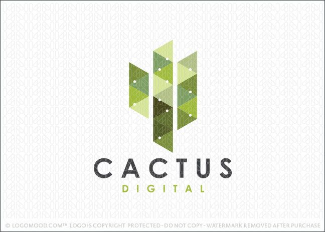 logo for sale simple cactus logo design created with geometrical triangular