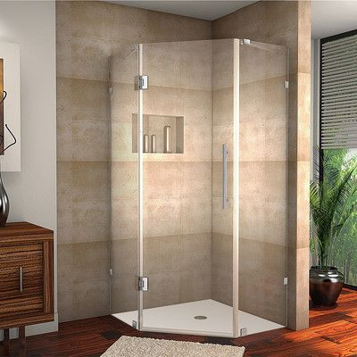"Aston Neoscape Completely Frameless Neo-Angle Hinged Shower Enclosure Finish: Chrome, Size: 72"" H x 34"" W x 34"" D"