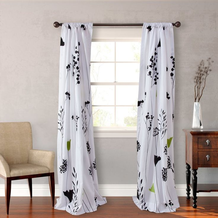 Asian Lily Lined Floral Semi-Sheer Rod Pocket Curtain Panels