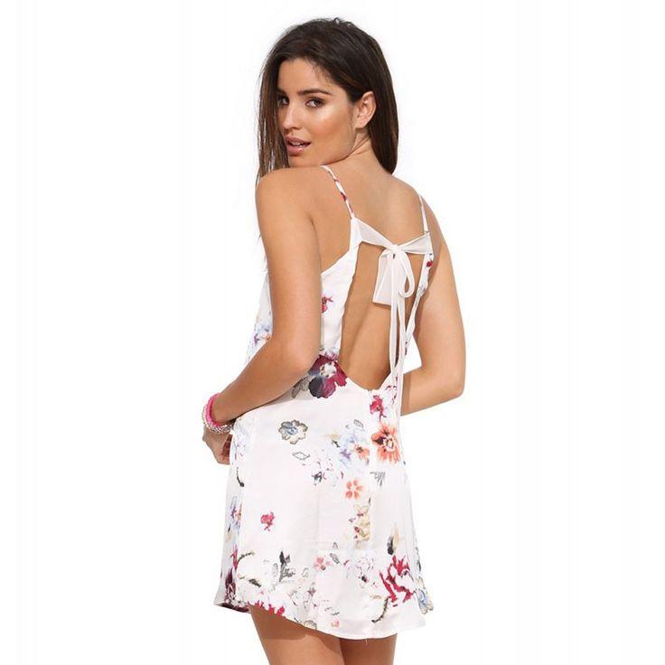 Vestido Floral Casual Curto Branco Feminino. Moda estação primavera verão. Estilo de silhueta Desalinhada.