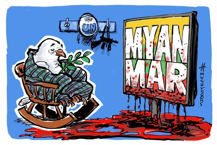 Meanwhile, in Myanmar… Cartoon by Maarten Wolterink: https://www.cartoonmovement.com/cartoon/42530