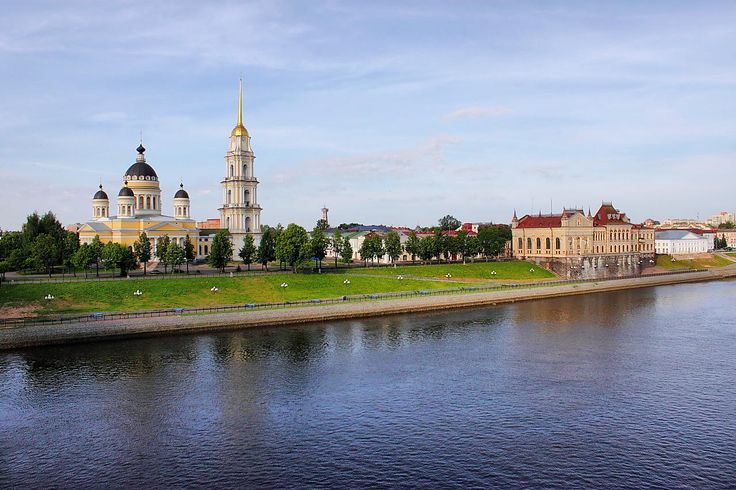 Spaso-Preobrazhensky Cathedral - Spaso-Preobrazhensky Cathedral and the Grain Exchange. Rybinsk. Russia