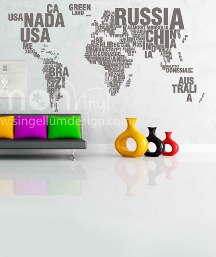 Mapa palabras vinilo adhesivo decoraci n de paredes for Adhesivos neveras decoracion