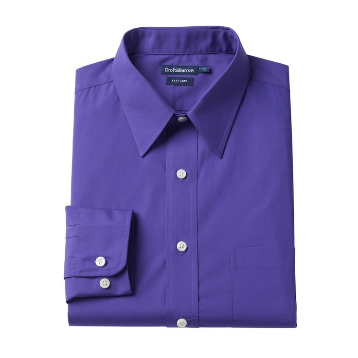 Big & Tall Croft & Barrow® Easy Care Point-Collar Dress Shirt, Purple