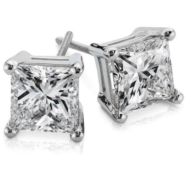 Blue Nile Princess-Cut Diamond Earrings in Platinum (3 ct. tw.) ($27,440) ❤ liked on Polyvore