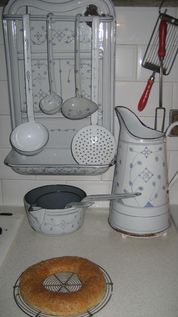 enamelware kitchen utensils..lovely