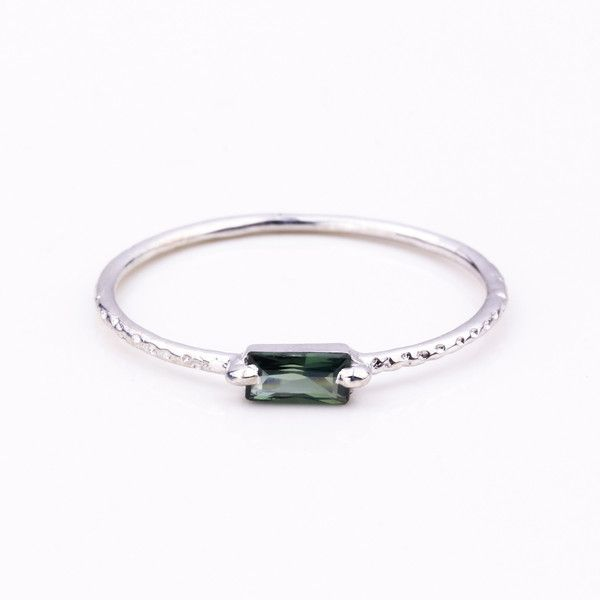 Step Silver Ring - Green Blue Tourmaline | Jane Heng Jewellery