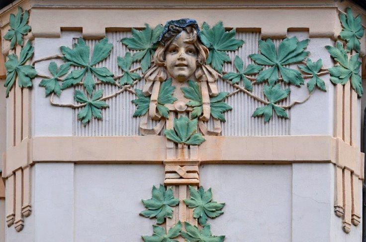 Art Nouveau Face Decorative element of the facade of one of the notable Art Nouveau buildings in Jablonec nad Nisou,Czech republic (foto: Milan Bajer)