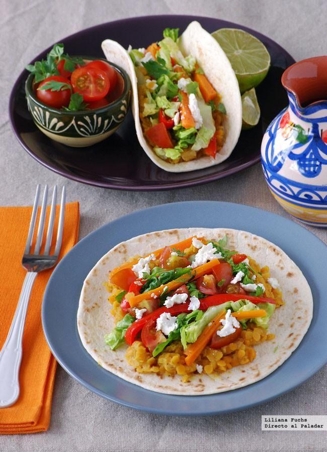 Tacos de lentejas al curry. Receta vegetariana - Directo Al Paladar