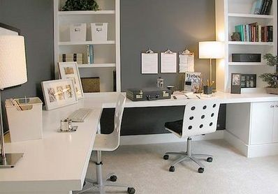 I love the dark colored walls with lightly colored (or simply wooden) desk and shelves!