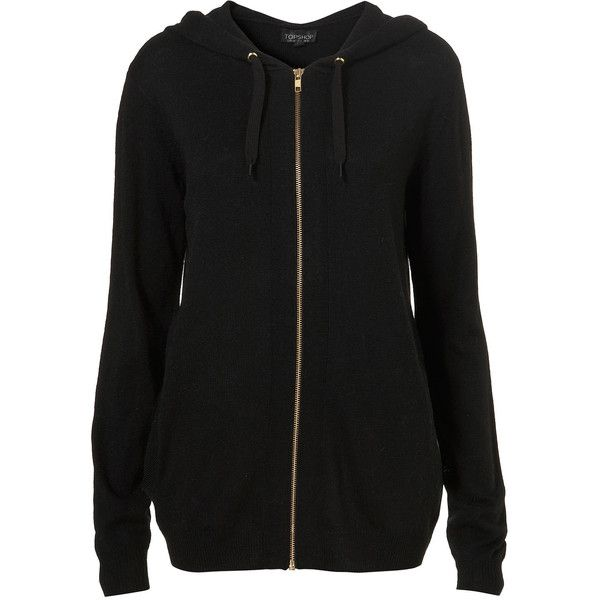 Knitted Zip Up Hoody ($40) ❤ liked on Polyvore featuring tops, hoodies, jackets, sweaters, outerwear, women, black zip up hoodies, black zipper hoodie, sweatshirts hoodies and black hoodies