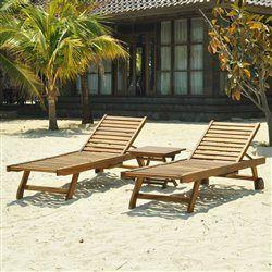 Lot de 2 bains de soleil - Table basse en teck huilé GARDENANDCO - Bain de soleil