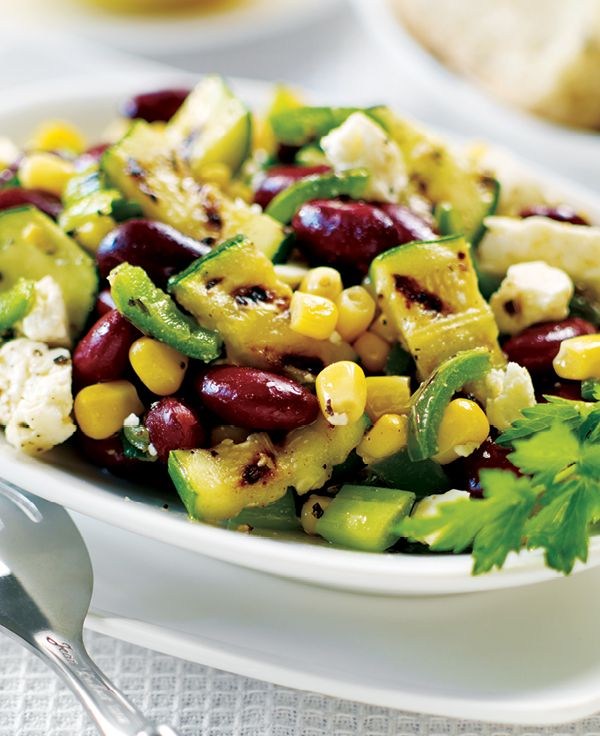 Grilled Zucchini and Bean Medley