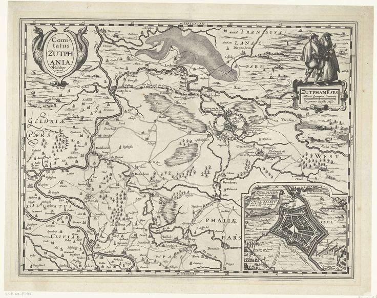 Pieter van der Keere | Kaart van graafschap Zutphen, 1627, Pieter van der Keere, Claes Jansz. Visscher (II), 1617 | Kaart van graafschap Zutphen, 1627. Rechtsboven twee figuren in regionaal kostuum. Rechtsonder een inzet met een plattegrond van Groenlo belegerd door het Staatse leger onder Frederik Hendrik in 1627. Zonder de tekst onder de prent.