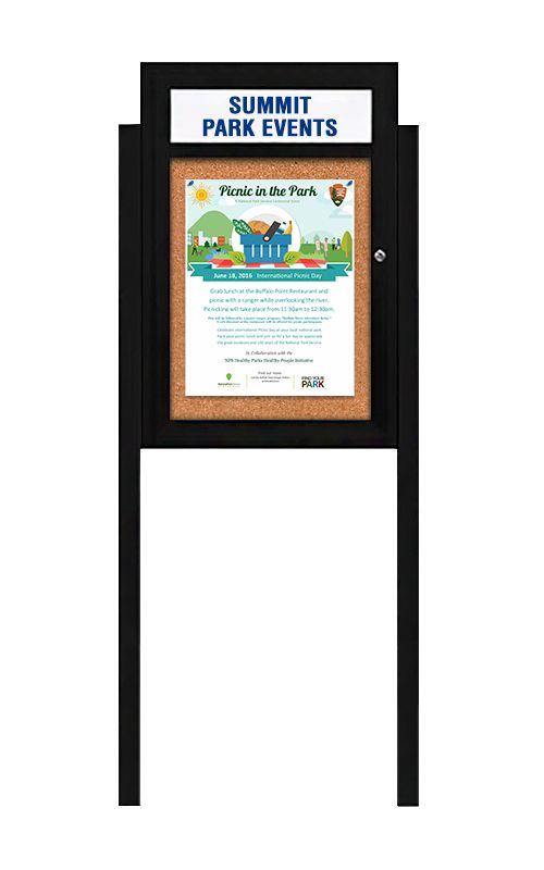Free Standing Outdoor Poster Display Case With Message Header Swingcase Metal Bulletin Board Cabinet Features A White Or Black Panel