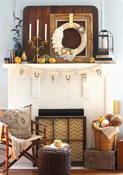 mantel from My Blessed Life blogIdeas, Windows Frames, Fall Decor, Mantel Decor, Fall Mantels, Autumn, Fall Mantles, Old Windows, Fireplaces Screens
