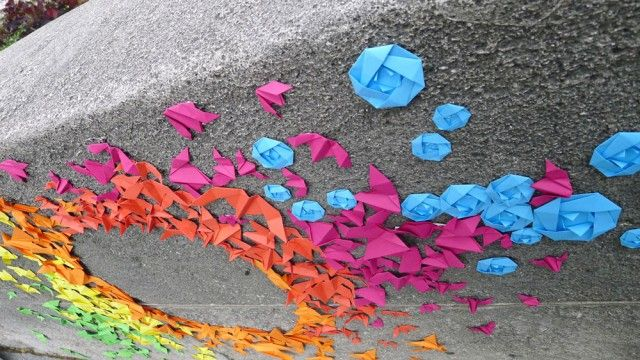 Close up - so simple, but so beautiful. Rainbow Origami Street Art by Mademoiselle Maurice