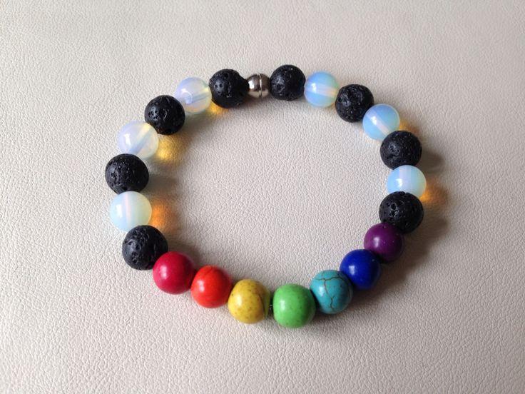Chakra Stretch Bracelet.. Magnesite, Moonstone and Lava Rock https://www.facebook.com/JediJewellery