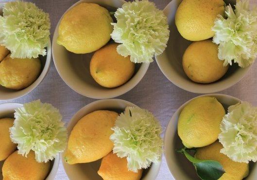 centrotavola limoni garofani