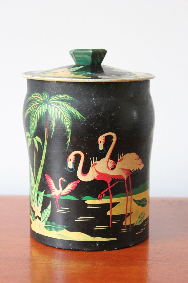 Vintage Tin with Tropical Flamingo Motif