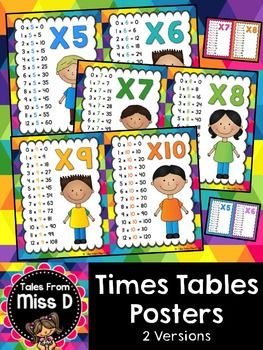 Times Table Posters  Use these TWO SETS of Times Tables Posters posters for a class display.   Numbers 1 to 12 are displayed on their own pages.