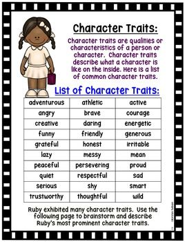 Free Ruby Bridges Character Traits Activity Black