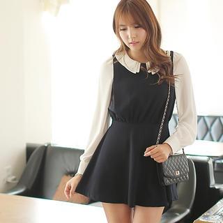Beaded-Collar Chiffon-Sleeve Dress