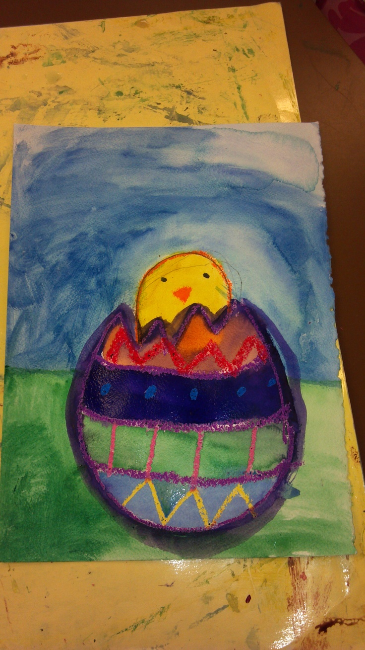 K Easter chicks.  Oil pastel/watercolor resist
