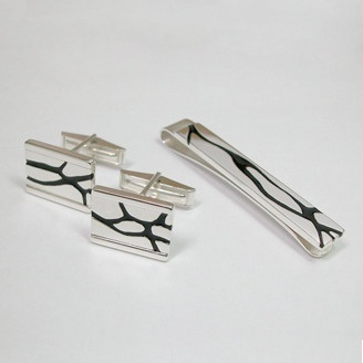Sterling silver cuff links and tie clip by Meghan Wagg (Edmonton, AB). Member of the Alberta Craft Council.