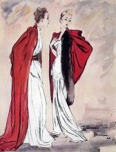 Marcelle Chaumont & Worth 1945 Evening Gown Mourgue Fashion Illustration