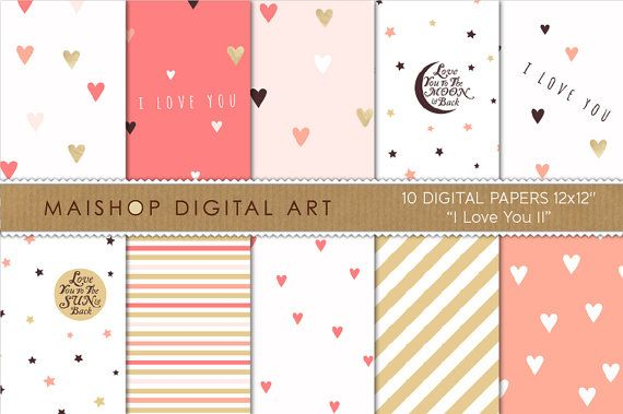 Romantic Digital Paper 'I Love You II' Coral by MaishopDigitalArt