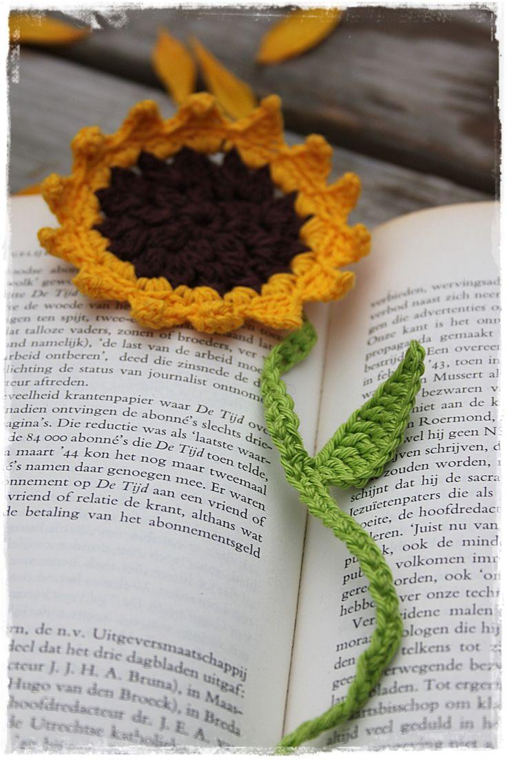 Zonnebloem als boekenlegger