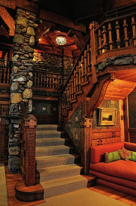 ✯ Stairway In Gillette Castle - Connecticut...something you have to see for yourself. Beautiful!!