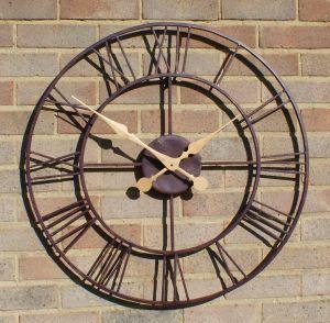 """Open Faced Antique Finish Metal Clock - 76cm (29.9"""")"""