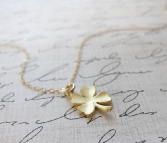 This little gold or silver shamrock necklace is sure to bring you good luck! Petite, shiny gold or silver filled chain measures 17 inches long. Clover charm in any finish.