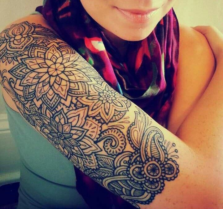 22 Mandala Tattoo Designs Ideas: Mandala Half Sleeve #mandala #tattoo Artist: Hanna